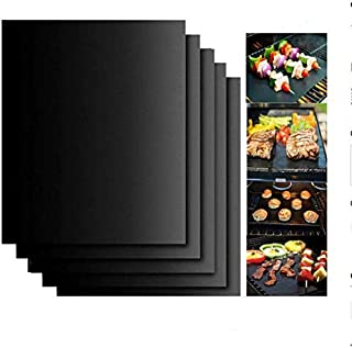 5pcs Reusable Non-Stick BBQ Grill Mat Pad Baking Sheet Meshes Portable Outdoor Picnic Cooking Barbecue Tool