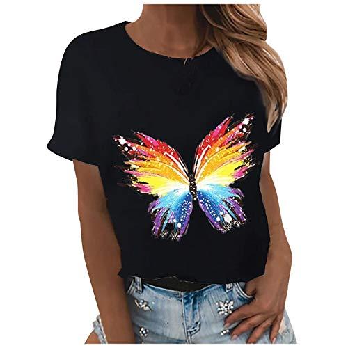 VEMOW Blusas y Camisa Camisetas Manga Corta Mujer Básico T-Shirt Cuello Redondo,...