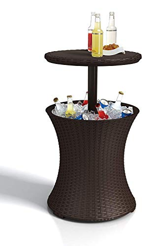 Keter Pacific Rattan Style Outdoor Cool Bar Ice Cooler Table Garden Furniture - Brown