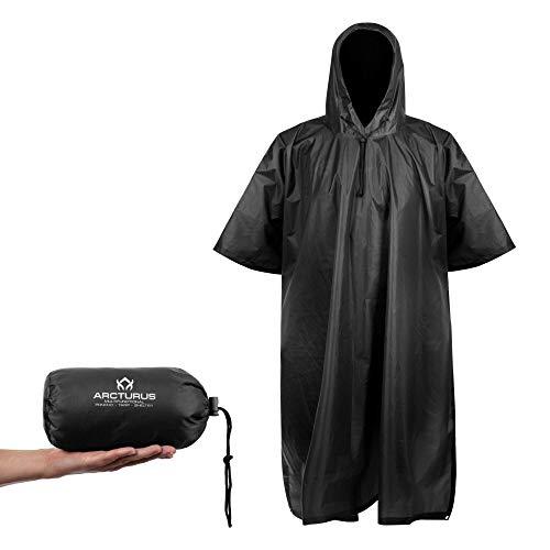 Arcturus Lightweight Ripstop Nylon Poncho with Adjustable Hood (Black)