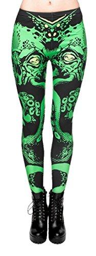 kukubird Printed Patterns Women's Yoga Leggings Gym Fitness Running Pilates Tights Skinny Pants 8 to 12 Stretchable - Cthulhu