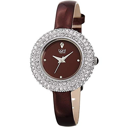 Burgi donna BUR195BUR Swarovski Crystal & diamante argento & bordeaux,...