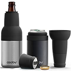 Asobu's Frosty Beer 2 Go is the ultimate beer chiller combination for beer bottles as well beer cans The Vacuum Insulated Double walled stainless steel construction guarantees a frosty cold beer for hours on end Complete with a built in Beer Bottle o...