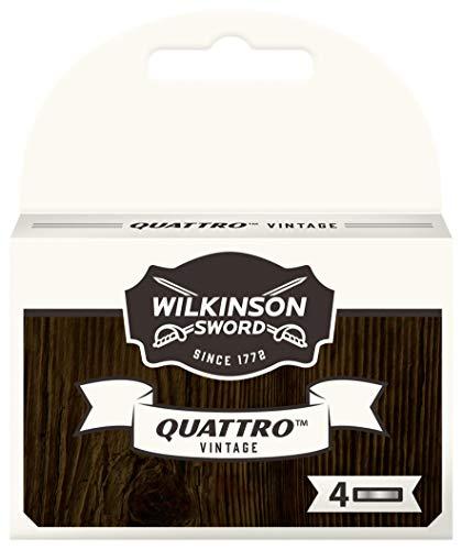 Wilkinson Sword – Cuchillas de recambio Quattro Titanium Vintage Edition – Pack de 4 cuchillas de recambio para hombre – 20 g