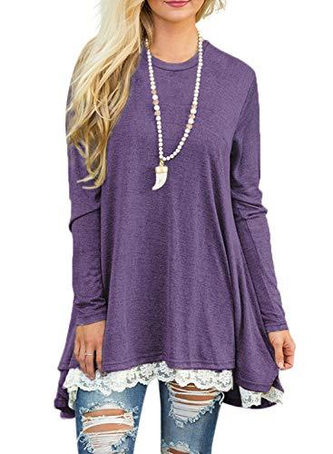 Sanifer Women Lace Long Sleeve Tunic Top Blouse (Large, Purple)