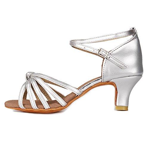YKXLM Femme&Fille Chaussons de Danse Latine Standard Salle de Bal Chaussures,FR217-5,Argent Color,EU 39