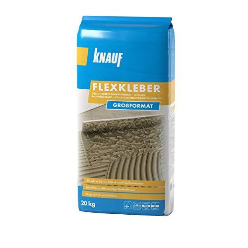 Knauf 657494 20 kg Flexkleber Großformat, Mörtel, Fliesenkleber – Fliesen-und Naturstein-Kleber für Boden, innen und außen, 20-kg, Zementgrau