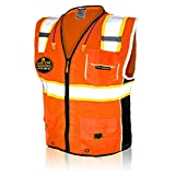 KwikSafety (Charlotte, NC) CLASSIC (10 Pockets) Class 2 ANSI High Visibility Reflective Safety Vest Heavy Duty Mesh with Zipper and HiVis OSHA Construction Work HiViz Men Women | Orange Small