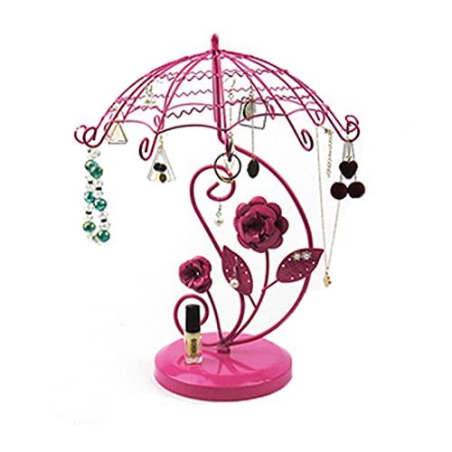 OMKMNOE Soporte para pendientes, soporte para collar, soporte para joyas, soporte para pendientes para el hogar, metal, exhibición de joyería, color rosa