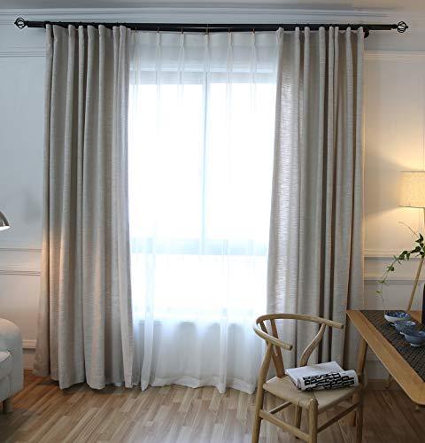 Naturer Beige Gardinen Leinenoptik Kräuselband Lang 260x140 2er Pack Lichtdurchlässig Vorhänge Verdunkelungsvorhang Verdunkelungsgardine Wohnzimmer Schlafzimmer