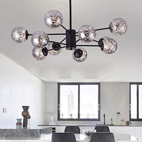 Lámpara de araña de cristal moderna nórdica, 6 luces, lámpara colgante Sputnik de mediados de siglo, burbuja, lámpara de araña antigua vintage, iluminación para pasillo, comedor, dormito