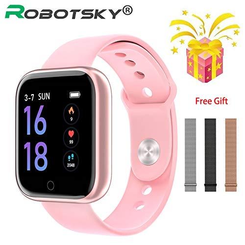 Smart Watch Women Men Sports Fashion IP68 Waterproof Activity Fitness Tracker Heart Rate Brim Smartwatch VS P68 P70 Bracelet Brand:TONWIN (Color : Black Black Steel, Size : Without Box)