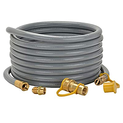 "only fire 24 Ft 1/2"" ID Natural Gas Hose with Quick Disconnect for Fire Pit, Patio Heater or Grill - Include 3/8"" Female x 1/2"" Male Adapter"