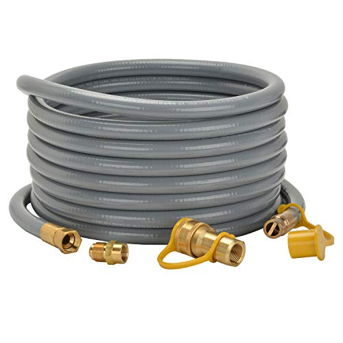 only fire 24 Ft 1/2' ID Natural Gas Hose with Quick Disconnect for Fire Pit, Patio Heater or Grill - Include 3/8' Female x 1/2' Male Adapter