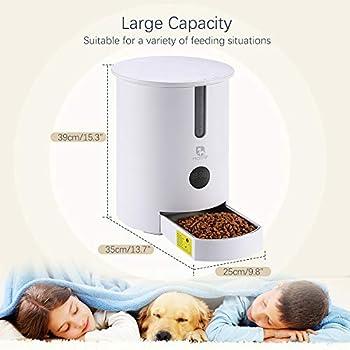 Distributeur automatique de nourriture pour chat avec minuterie de distribution programmable Alarmes contrôle des portions Enregistrement vocal jusqu'à 6 repas par jour