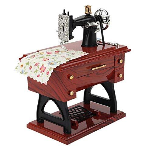 HibiscusElla Trompeta Máquina de Coser Caja de música Caja de música de simulación nostálgica Gran Regalo Máquina de Coser Retro Caja de música