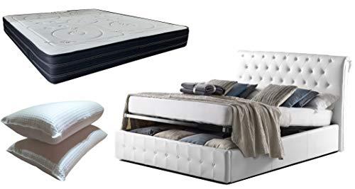 Cama de matrimonio con caja de almacenamiento Magda de piel sintética blanca elegante y refinada + colchón de 24 cm con sensor de memoria + par de almohadas de regalo