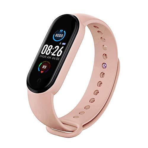 YOPU Reloj inteligente M5 pulsera deportiva con podómetro, frecuencia cardíaca, monitor de presión arterial, monitor de sueño, IP67, impermeable, Bluetooth, pulsera inteligente para hombres y mujeres