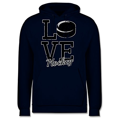 Shirtracer Eishockey - Love Hockey - XL - Navy Blau - JH001 - Herren Hoodie und Kapuzenpullover für Männer