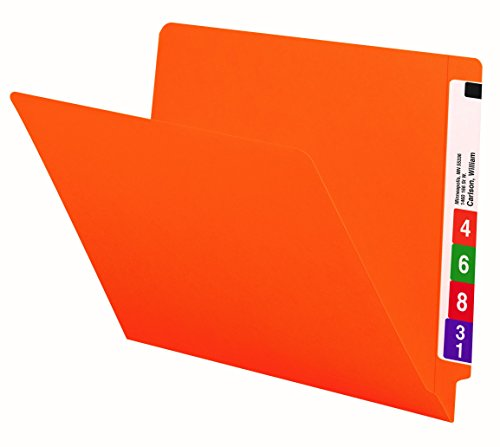 Smead End Tab File Folder, Shelf-Master Reinforced Straight-Cut Tab, Letter Size, Orange, 100 per Box (25510)