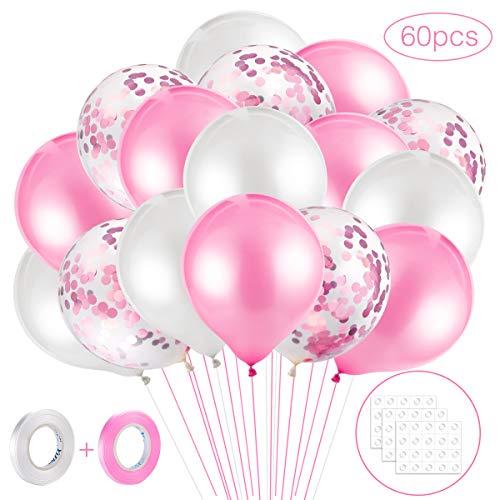 MELLIEX 60 Stück Latex Luftballons und Konfetti Luftballons mit Ballon Zubehör für Hochzeit Birthday Party, Rosa und Weiß