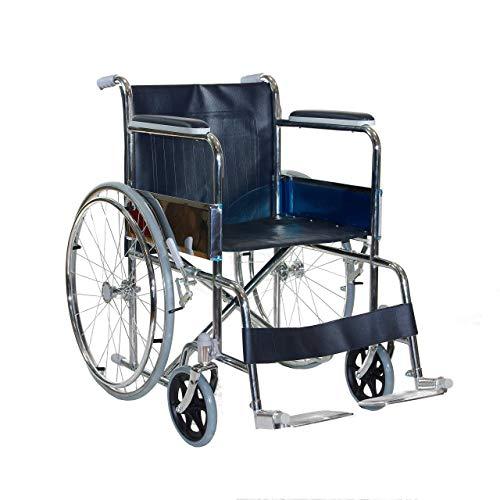 Sedia a Rotelle - CARROZZINA DISABILI leggera e pieghevole in acciaio cromato con freno per transito anziani e disabili – Auto spinta -Barre posteriori Anti ribaltamento leva per gradini