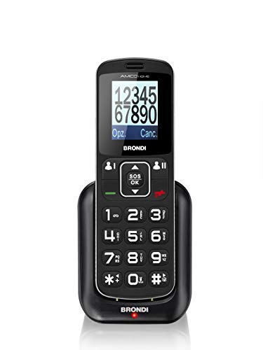 Brondi Amico Home, Telefono cellulare GSM per anziani con tasti grandi, tasto SOS e funzione da remoto, dual SIM, volume alto