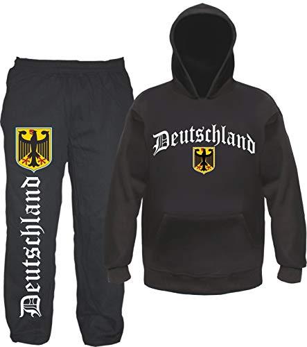 sostex Deutschland Jogginganzug - Altdeutsch mit Wappen- Jogginghose und Hoodie 2XL Schwarz