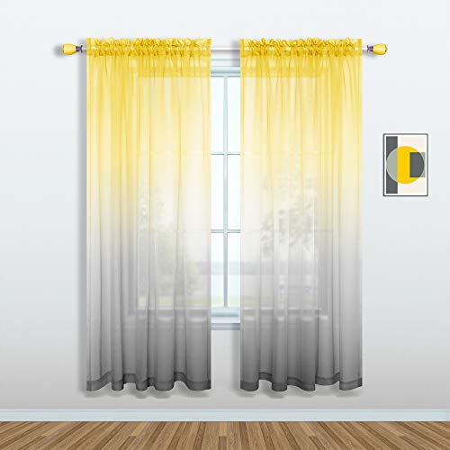 Yellow and Grey Curtains for Bedroom Set of 1 Panel Pole Pocket Faux Linen Semi Sheer Drapes Ombre Voile Curtains for Living Room Dining Room Girls Bedroom 52 x 63 Inch Length Yellow and Gray