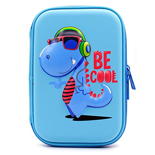 SOOCUTE School Boys Cool Dinosaur Hardtop Pencil Case with Compartment - Big Pencil Box Students Stationery Organizer for Kids Children Toddlers (Light Blue)