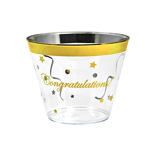 Congratulations Gold Rim Plastic Cups. 100 pack/9 oz, clear golden rimmed cup for cocktails, wine and water. Fancy disposable tumblers for parties, weddings, and special celebrations.