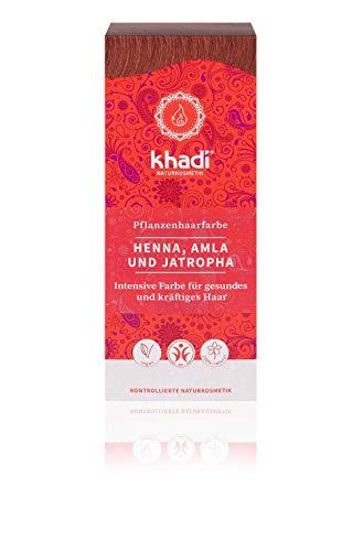KHADI Coloration naturelle aux plantes - Rouge : Henné, Amla & Jatropha - 100g