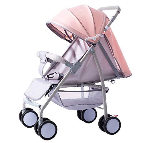 KIVEM Lichtgewicht Kinderwagen voor Peuters Compact Baby Buggy met Liggende Positie Prams voor Pasgeboren Van geboorte tot 25 kg Een Hand Opvouwbare UV Bescherming Awning Five-Point Harnas Geweldig voor Vliegtuig