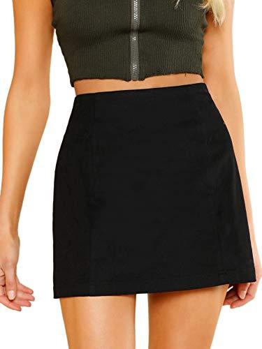 SheIn Women's Casual High Waist Zipper Back A-line Mini Short Skirt Black