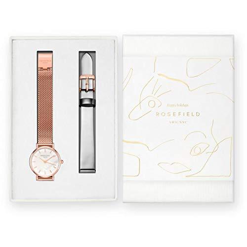 ROSEFIELD - Cofanetto Rosefield Prenium Gloss con un orologio in acciaio e bracciale Milanese dorato rosa + un cinturino in pelle grigio metallizzato, 2,6 cm