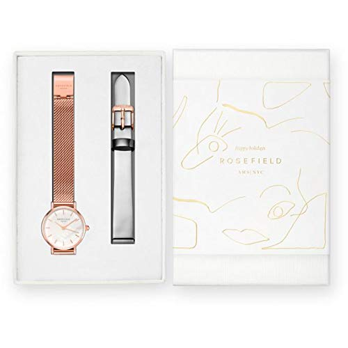 Rossefield, estuche Rosefield Prenium Gloss con un reloj de acero y pulsera Milanés dorado rosa + una correa de piel gris metalizada, 2,6 cm