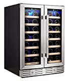 Kalamera Wine Cooler - Fit Perfectly into 24 inch Space Under Counter or Freestanding - Dual Zone - For Kitchen or Bar with Blue Interior Light and Temperature Memory Function