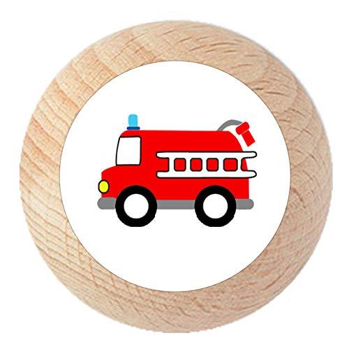 """Möbelknauf""""Feuerwehrauto"""" natur klar lackiert Holz Buche Kinder Kinderzimmer 1 Stück Fahrzeuge Transportfahrzeuge Traum Kind"""