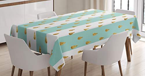 ABAKUHAUS Moderno Mantele, Gotas en Rayas intrépidas, Estampado con la Última Tecnología Lavable Colores Firmes, 140 x 200 cm, Menta Verde Amarillo