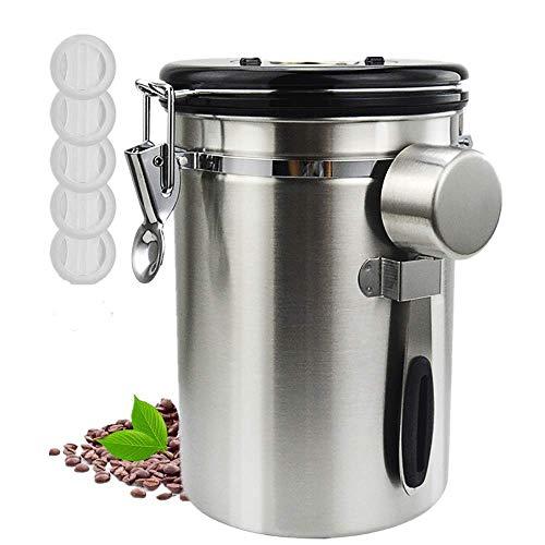 コーヒーキャニスター 1800ml コーヒー豆 保存容器 密封容器 交換用バルブ付き スプーン付き 600g 茶筒 お菓子 糖 香料 日付表示 防湿保存缶 大容量 日本語説明書付き シルバー