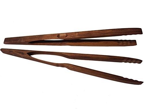 BierEx XXL Profi Grillzange aus Holz 46cm 460mm Nussbaum extra lang Lange Holzgriff Nussbaumholz Mehrzweckzange Pfanne Grill Multizange Küchenzange auswählbar 32 40 46 60 74 80 88 cm Zangen