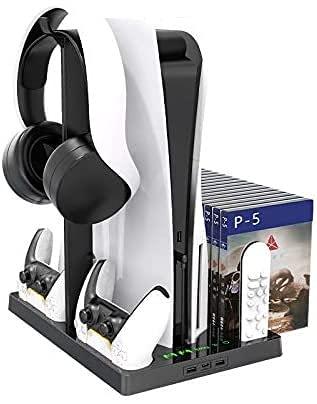 TPFOON Multifuncional Soporte Vertical para Sony PS5 Digital Edition/Ultra HD con Ventilador de Refrigeración, Dual Estación de Carga para Mando PS5, Almacenamiento de Juegos, Soporte para Auriculares