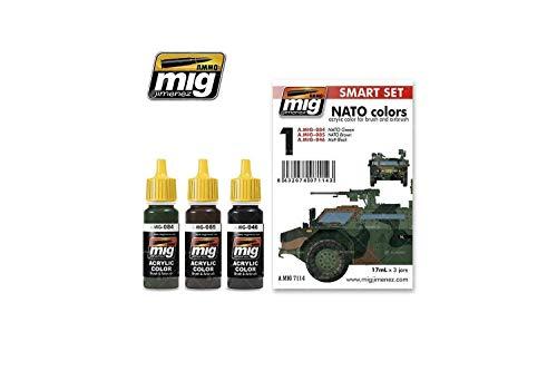 AMMO MIG-7114 NATO Colors Acryl Smart Set, Mehrfarbig