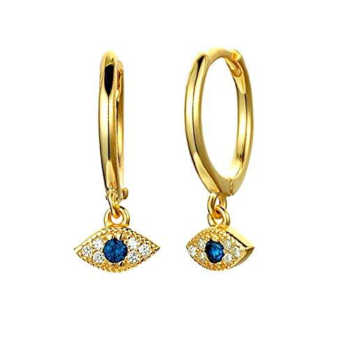 Pendientes Mujer Pendientes De Plata De Ley 925 con Dijes Azules, Pendientes Pequeños Encantadores para Mujer, Joyería De Moda-Style_1_Gold