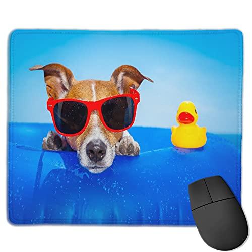 Zollamt Mauspad,Jack Russell-Hund auf einer Matratze im Ozean,Quadratisches Gaming-Mauspad, rutschfeste Gummibasis für Heim-Laptop, Reisen, personalisierter Schreibtisch, 9,5