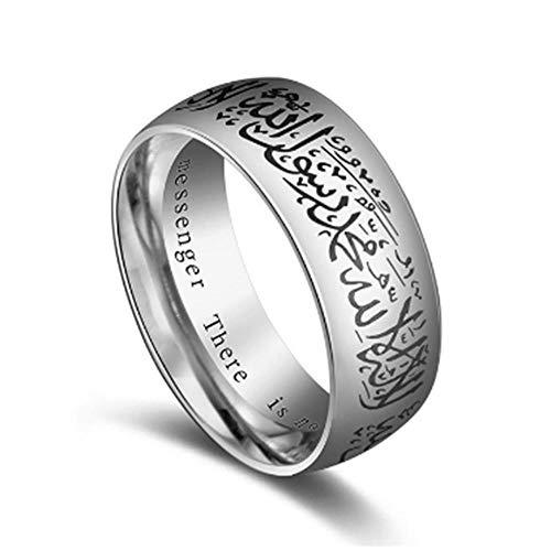 L.M.K LMK Exquisite Titan Stahlring Koran Muslim Religiös Islamisch Halal Wort Arabischer Gott Ring Unisex, C
