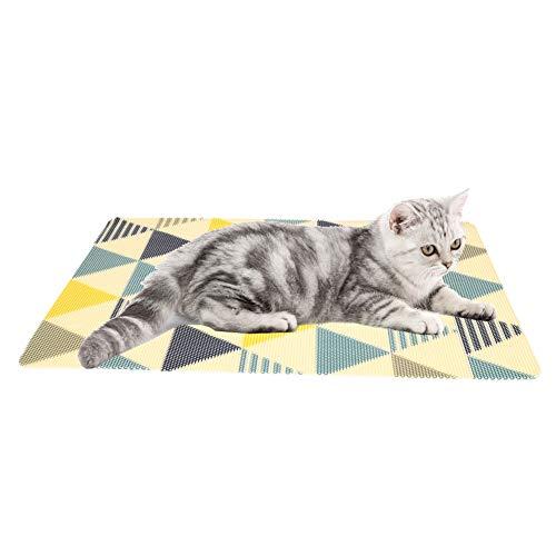 Kattenstrooisel matten waterdicht anti-slip huisdier diervoeder Mat PVC voedsel Mat deur Scratch spelen activiteit tapijt kom vloer plaats Mat, Geometry Triangle Y01