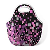Square Neoprene Water Resistant Portable Lunch Bag GANKE Confetti Geometrical Scatter Square Squares Black Packaging Carry Case Tote with Zipper Cooler Handbag for Women Men Kids Girls,Black Black