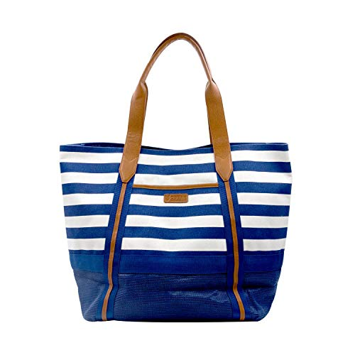 CGear Sand-Free Tote IV, Soft Cotton Canvas with White/Navy Stripes- Sand, Dirt, and Dust Free- Perfect for Vacations, Boating, Picnics and more Military Technology- Easy Clean, Quick Dry, Mold Free
