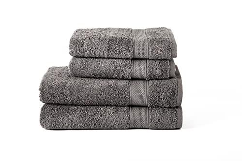Komfortec Juego de 4 Toallas de 100% algodón, 2 Toallas de Mano de 50 x 100 cm y 2 Toallas de baño de 70 x 140 cm, Rizo, Suave, Color Gris Antracita